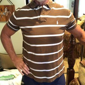 Polo Ralph Lauren Men's XL Brown/White Stripe Polo